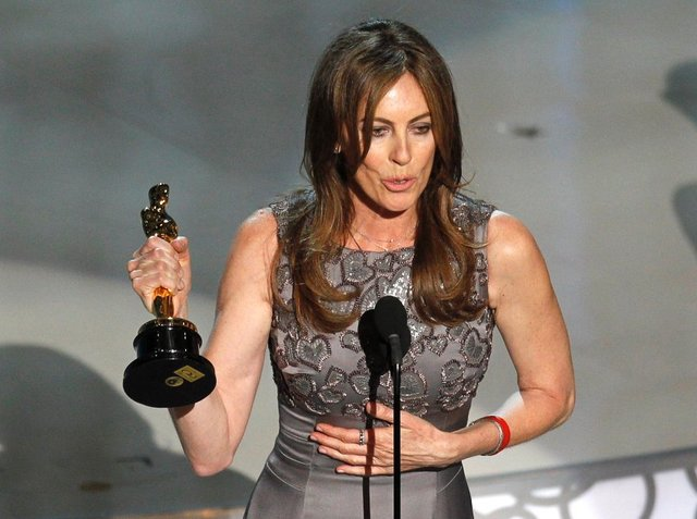 Kathryn Bigelow celebrates after winning best director during the 82nd Academy Awards in Hollywood.
