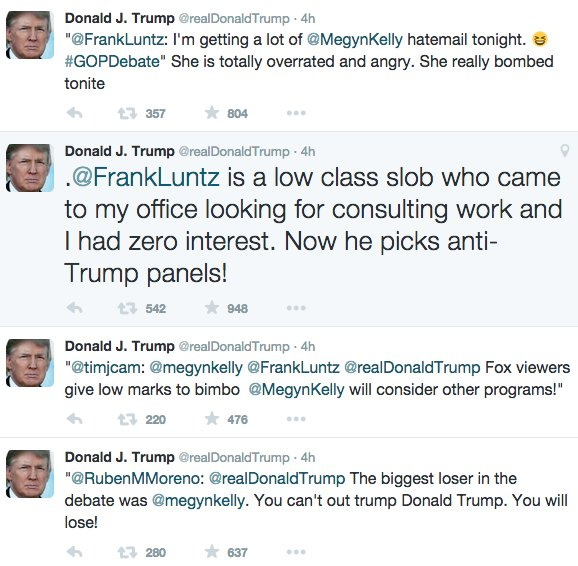 Donald Trump Outburst on Twitter after first GOP debate