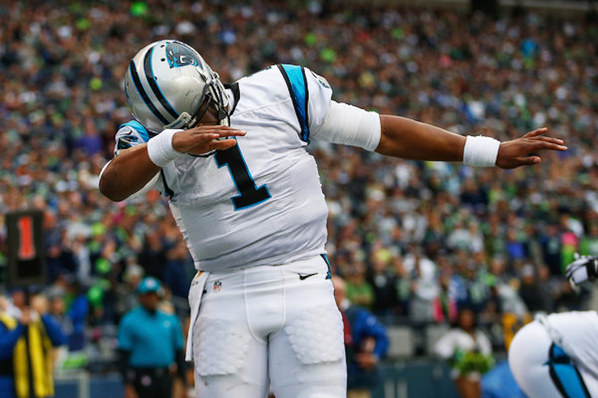 Cam Newton doing the dab in the endzone