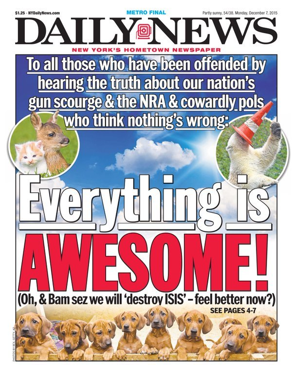 New York Daily News Cover - Everything is Awesome
