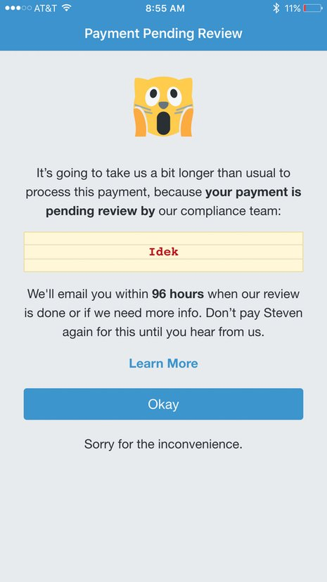 Venmo payment flagging for IDEK term