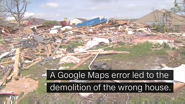 home demolition by accident - Google Maps