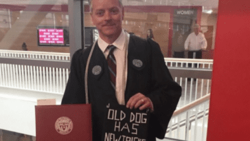 Michael Vaudreuil graduates from college he was janitor at
