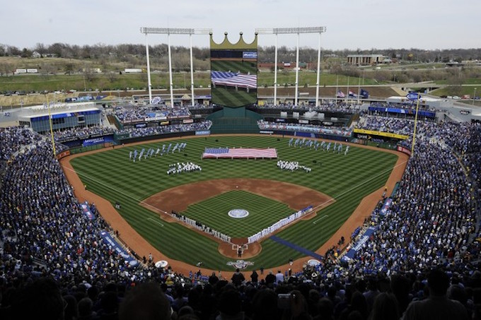 KANSAS CITY, MO - APRIL 10: A general view of Kauffman Stadium during opening day festivities prior to the New York Yankees against the Kansas City Royals on April 10, 2009 at Kauffman Stadium in Kansas City, Missouri. (Photo by G. Newman Lowrance/Getty Images)