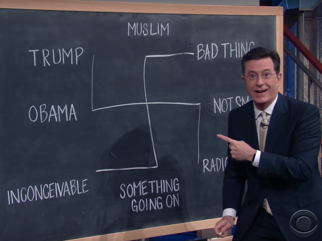 Stephen Colbert used a swastika to explain Donald Trump's campaign