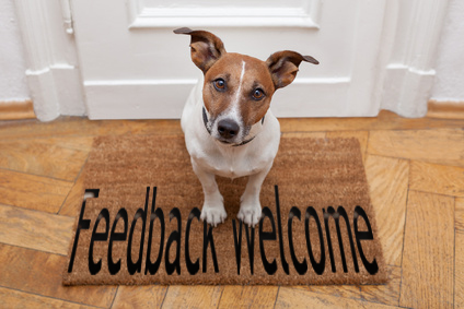 dog welcome home on brown mat