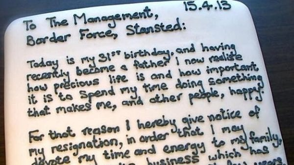 resign cake