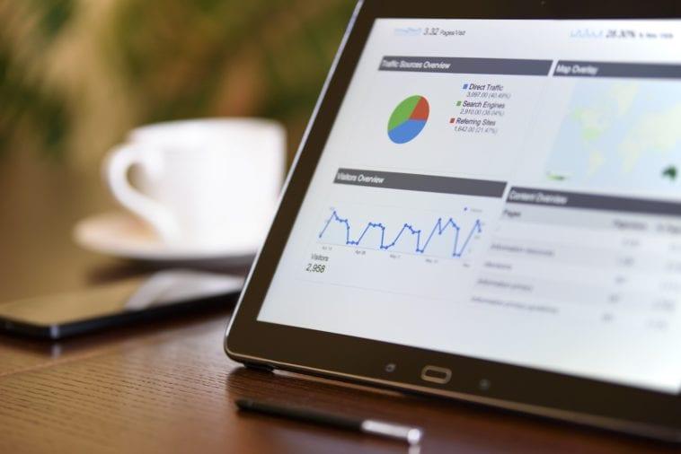 ipad with business charts photo